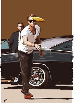 Steve McQueen plays frisbee on the set of BULLITT.jpg